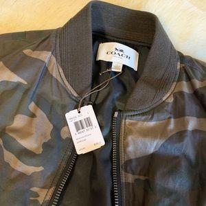 Men's coach waxed canvas camo bomber jacket NWT